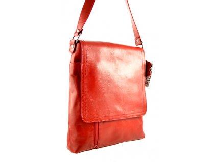 Klopnová kožená taška Silvercase - červená