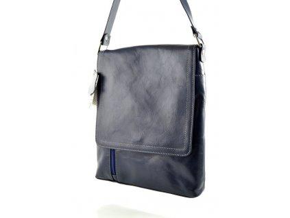 Klopnová kožená taška Silvercase - modrá