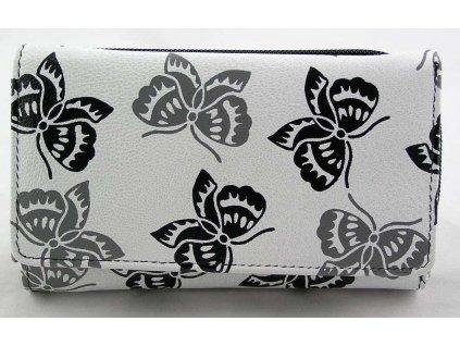 Podlouhlá kožená peněženka s motivem motýlů - černá