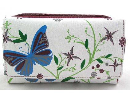 Podlouhlá kožená peněženka s motivem motýlů - červená