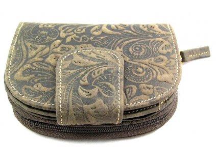 Kožená peněženka s ražbou DD - tmavě hnědá