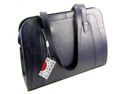 Velká manažerská kožená kabelka Silvercase - modrá