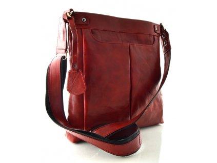 Velká dámská kožená taška přes rameno Silvercase - bordo