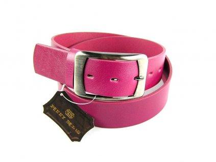Fuchsiový kožený dámský opasek - Penny Belts