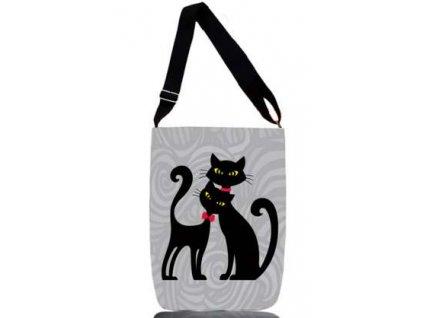 Textilní taška přes rameno - dvě kočky