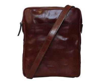 Luxusní kožená taška přes rameno Messenger Elega - hnědá