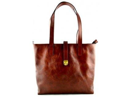 Velká kožená kabelka Silvercase - hnědá kaštan