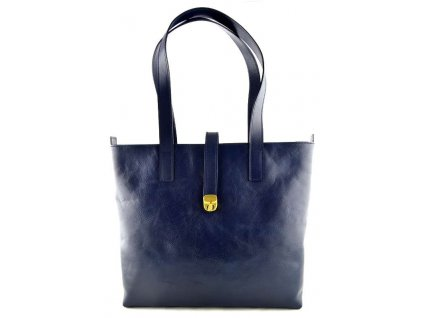 Velká kožená kabelka Silvercase - námořní modř