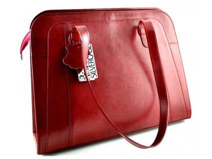 Velká manažerská kožená kabelka Silvercase - bordo