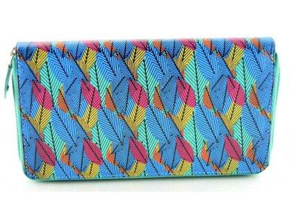 Kožená penálová peněženka - tyrkysová