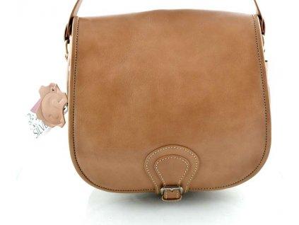 Klopnová lovecká kožená taška Silvercase - světle hnědá