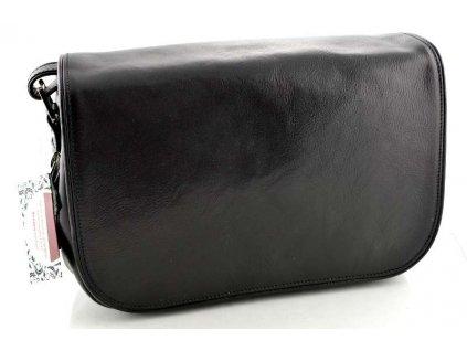 Klopnová kožená kabelka Silvercase - černá