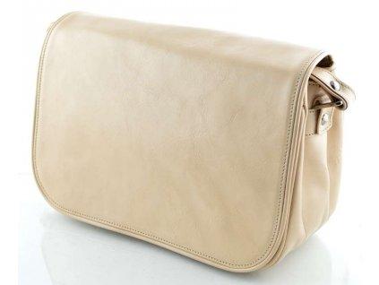 Klopnová kožená kabelka Silvercase - krémová