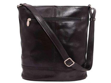 Kožená taška přes rameno Hajn - černá
