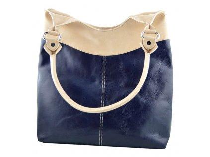 Vysoká kožená kabelka Silvercase - modrobéžová