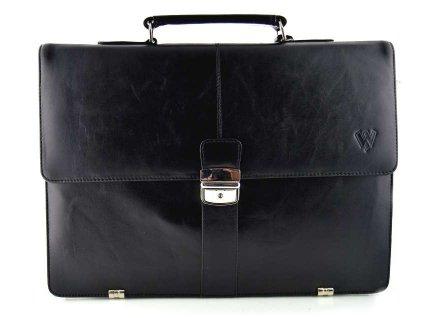 Pánská kožená aktovka s přihrádkou na notebook značky Arwel - černá