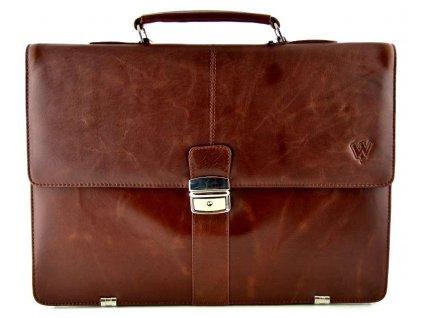 Pánská kožená aktovka s přihrádkou na notebook značky Arwel - hnědá