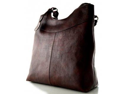 Vysoká kožená kabelka Silvercase - kaštanově hnědá