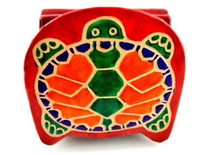 Kožená korunovka - červená želva
