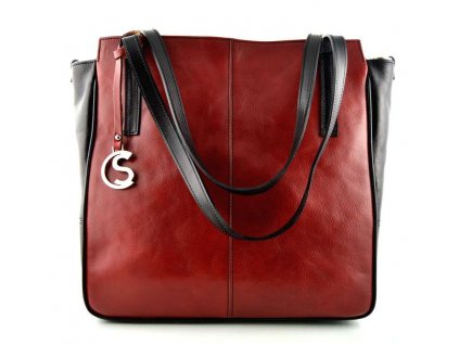 luxusni kozena kabelka silvercase cervenocerna