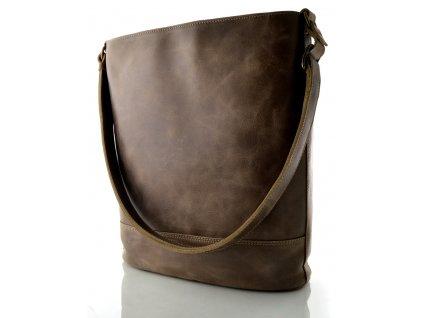 Kožená taška přes rameno Hajn - hnědá rustik