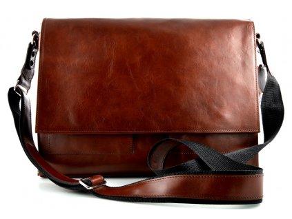 Klopnová taška přes remeno Silvercase - hnědá lesklá