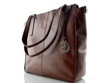 Luxusní kožená kabelka Silvercase -jednobarevný kaštan
