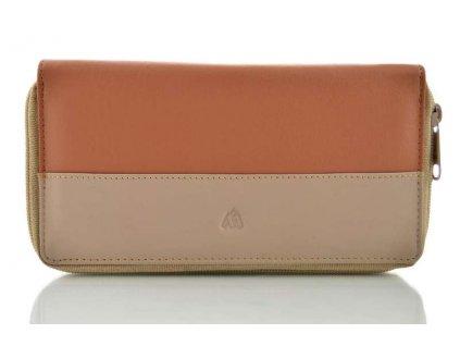 Kožená peněženka dvouzipová Arwel - hnedá
