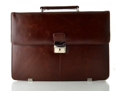 Pánská kožená aktovka na notebook - hnědá