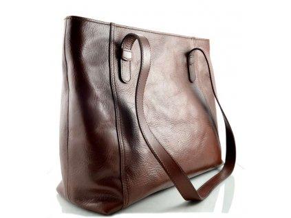 Nadčasová kožená kabelka Silvercase - kaštanová