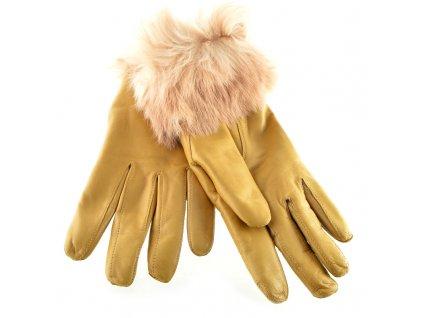 Kožené rukavice s kožešinkou - žluto béžové