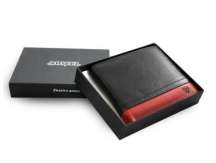 Kožená peněženka Arwel - černočervená