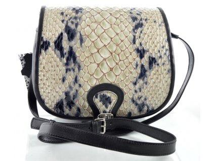 Klopnová lovecká kožená taška Silvercase - černá se vzorem