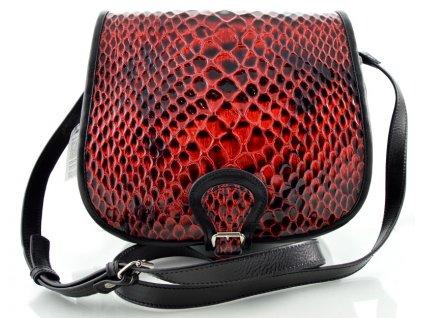 Klopnová lovecká kožená taška Silvercase - čeveno černá se vzorem