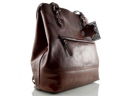 Kožený kabelkobatůžek Silvercase - hnědý kaštan
