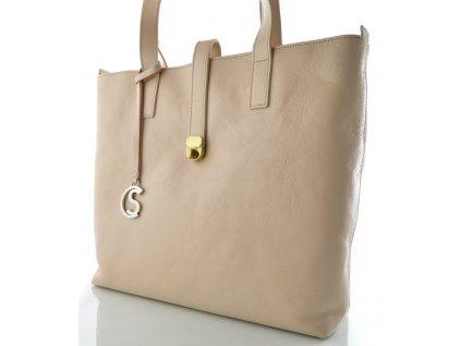 Velká kožená kabelka Silvercase - pudrová