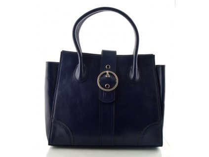 Kožená kabelka se sponou Silvercase - tmavě modrá