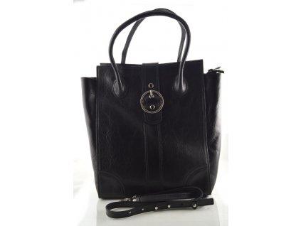 Vysoká kožená kabelka do ruky se sponou - černá
