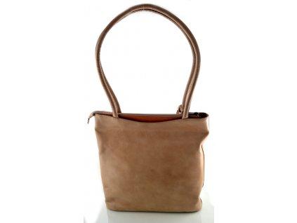 Vysoká kožená kabelka Silvercase - oříšková a oranžová