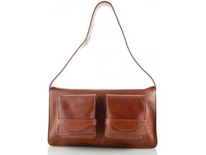 Kožená kabelka se dvěma kapsami na klopně -hnědá