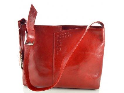 Červená kožená kabelka se zdobným prošíváním - červená