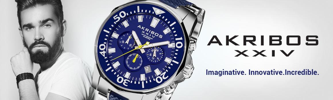 Akribos značka - muz + modre hodinky