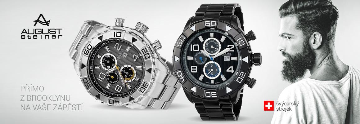 August Steiner - americké hodinky se švýcarským strojkem, velký ciferník