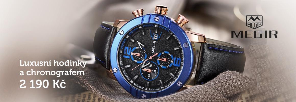 Velké pánské hodinky Megir s chronografem - modré