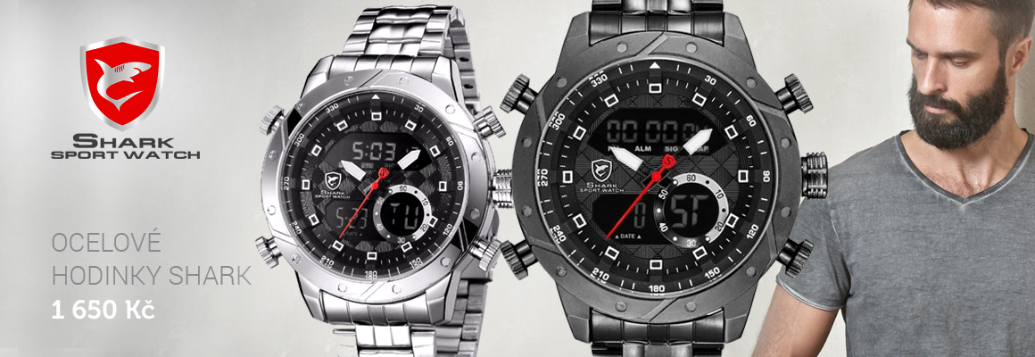Pánské hodinky Shark s funkcemi ocelové velký ciferník
