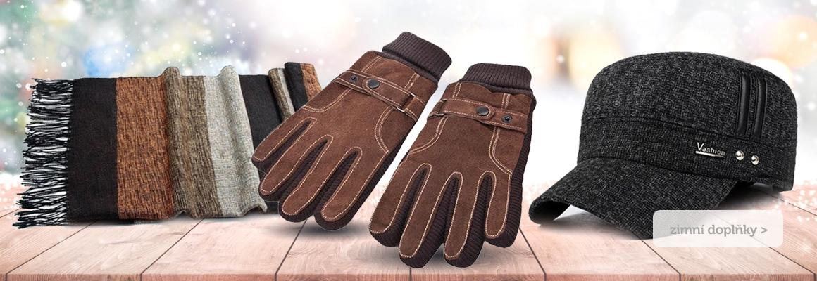 Zimní rukavice, šály, čepice