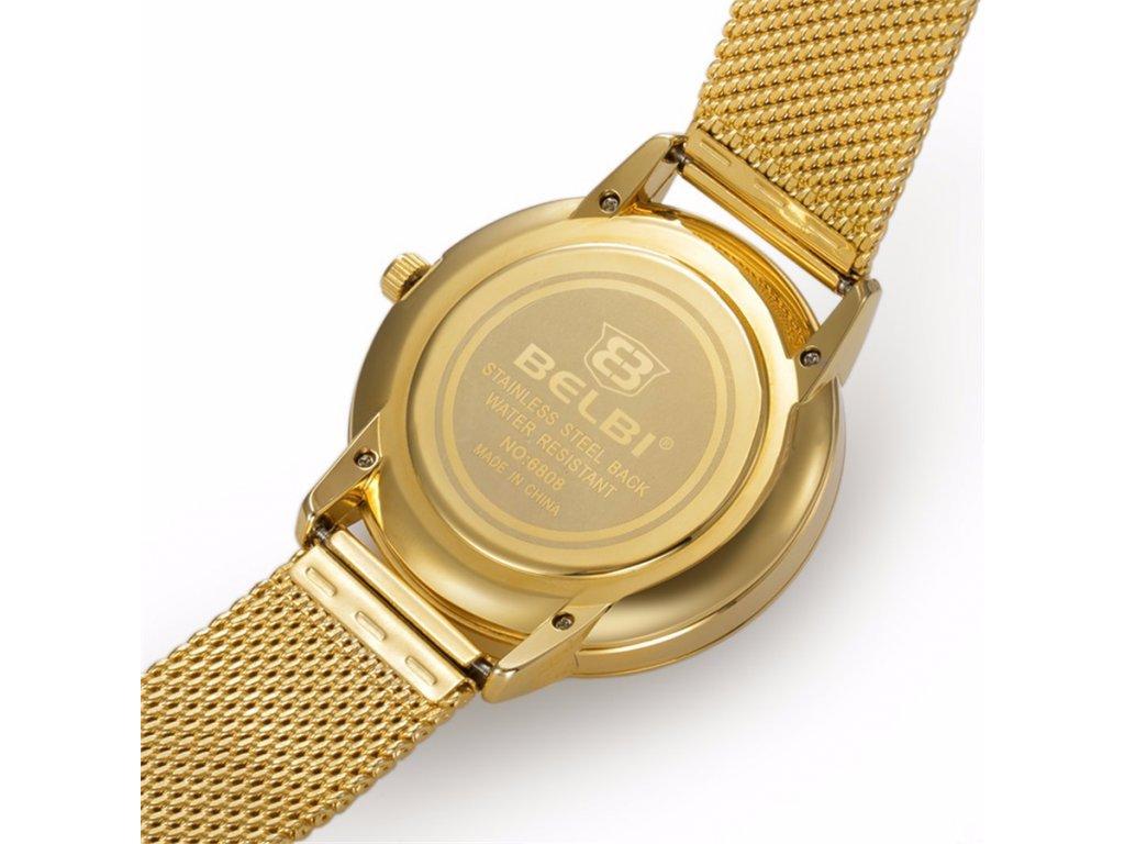 Atraktivní dámské hodinky zn. Belbi - velké zlaté - Elegans.cz 64a37097f3