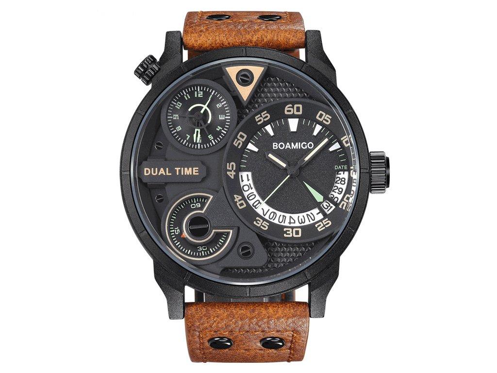 dbc5270b92 Atraktivní a stylové velké hodinky Boamigo - duální ciferník hnědé -  Elegans.cz