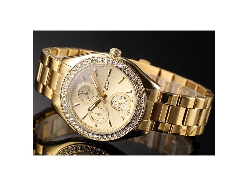 4681f4f09 Atraktivní dámské hodinky Taylor Cole Muse - zlaté s kamínky, datum,  chronograf - Elegans.cz