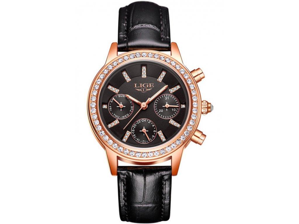 669c76c9d28 Atraktivní dámské hodinky zn. Lige s kalendářem - černé - Elegans.cz